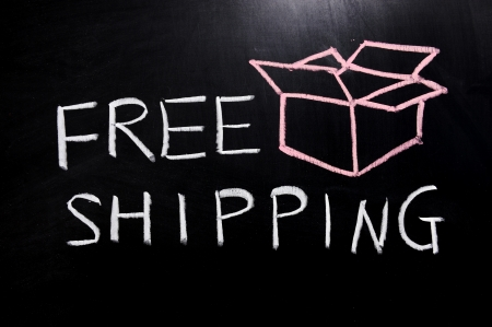 shipping box: Chalk drawing - Free shipping text and an open box