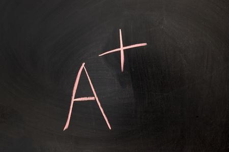 Chalk drawing - the score of A+ written on chalkboard Stock Photo - 11931406
