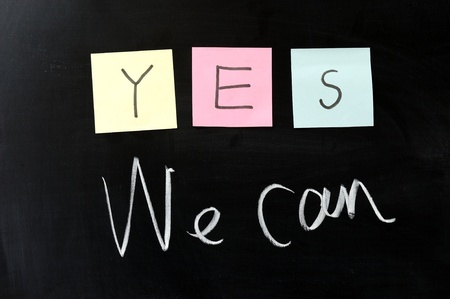 楽観: チョークの描画 - はい私たちはできます。