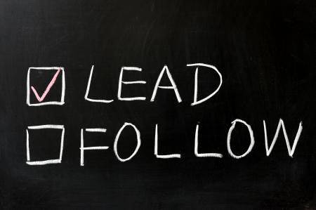follow: Chalkboard drawing - Lead or follow