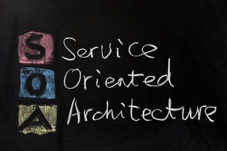 oriented: Chalk drawing - SOA, service oriented architecture Stock Photo