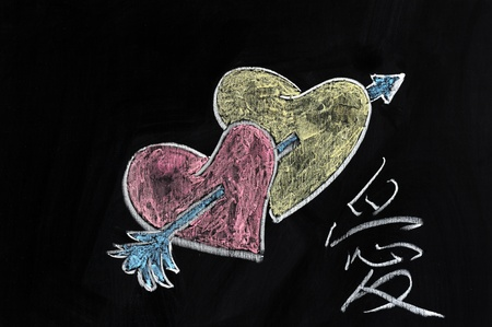 Chalk drawing - Hearts, arrow and Love word in Chinese photo