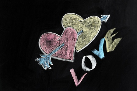 Chalk drawing - Love, hearts and arrow photo