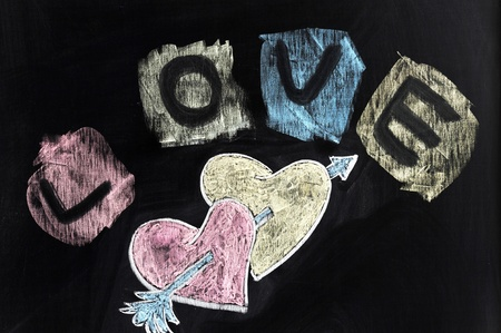 Chalk drawing - Love, hearts and arrow Stock Photo - 11931352