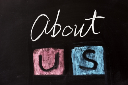 about us: Chalk drawing - About us Stock Photo