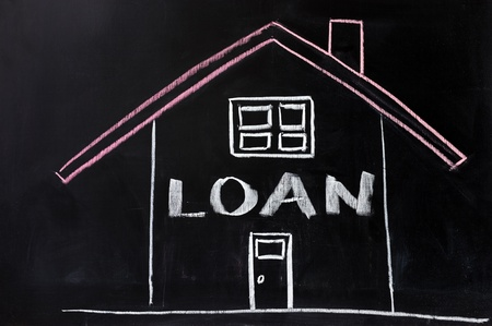 funding: Chalk conceptional drawing - Housing loan Stock Photo