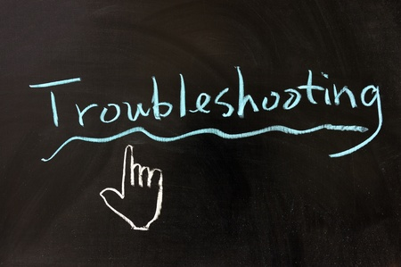 Chalk drawing - Troubleshooting word written on chalkboard photo
