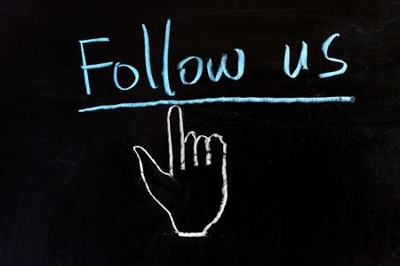 microblogging: Chalk drawing - Follow us
