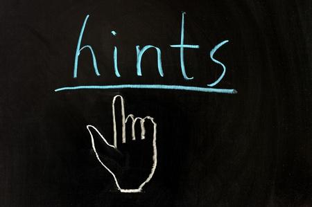 hints: Chalk drawing - Hints on chalkboard Stock Photo