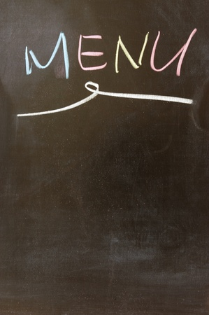 Chalk drawing - Menu written on chalkboard photo