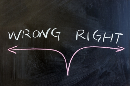 right way: Chalk drawing -  concept of right or wrong