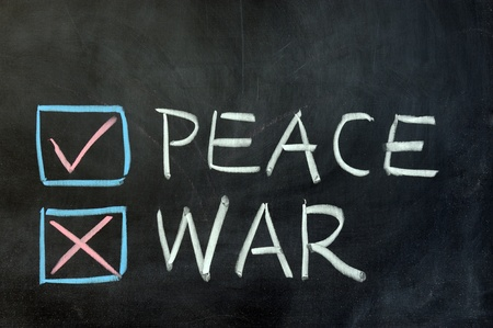 world wars: Chalk drawing - choose between peace and war Stock Photo