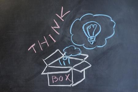 Chalk drawing - Think outside the box photo
