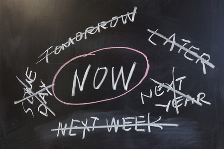 later: Chalk drawing - Do it now Stock Photo