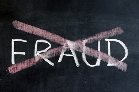 internet fraud: Chalk drawing - No fraud Stock Photo