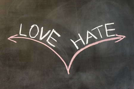 Chalk drawing - Love or hate photo