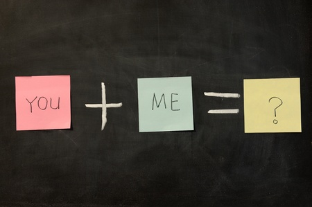addition: Chalk drawing - You plus me Stock Photo
