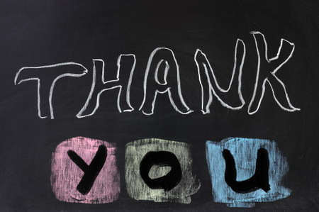 conceptional: Conceptional chalk drawing  - Thank you Stock Photo