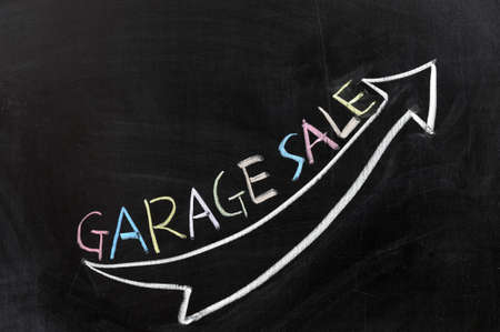 Conceptional chalk drawing - Garage sale photo