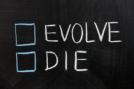 adaptation: Chalk drawing - Evolve or die Stock Photo