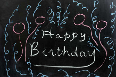Conceptional chalk drawing - Happy birthday Stock Photo - 12701752