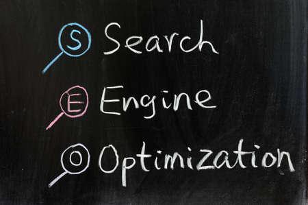 search engine optimization: Chalk drawing - Search engine optimization Stock Photo
