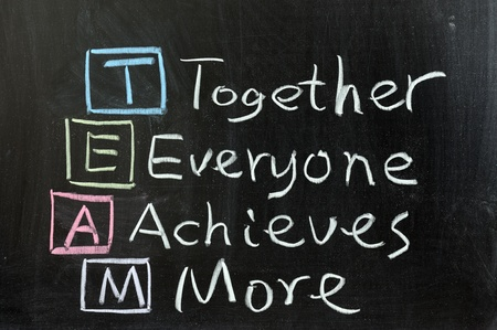 achieves: Chalk drawing - TEAM: Together, Everyone, Achieves, More