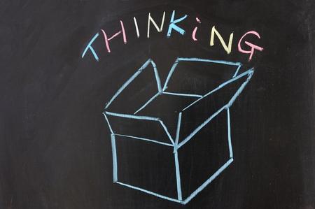 Chalk drawing - Thinking outside the box Stock Photo - 12701627