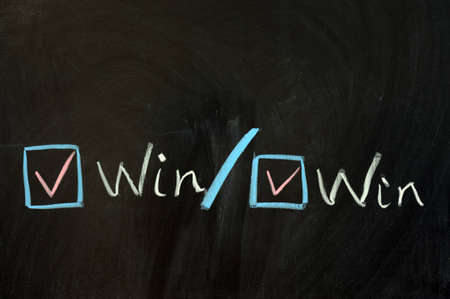 Chalk drawing - Win win concept Stock Photo - 12701667