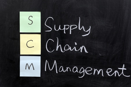 scm: Chalk drawing - SCM, supply chain management Stock Photo