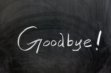 abschied: Kreidezeichnung - Goodbye Wort auf Tafel geschrieben Lizenzfreie Bilder