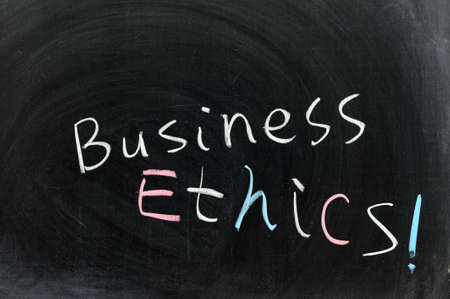 corporate responsibility: Conceptional chalk drawing - Business ethics