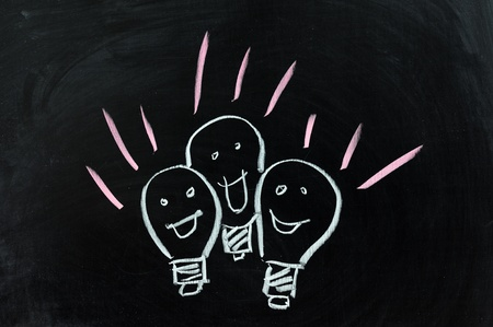 Conceptional chalk drawing - Group of lamps Stock Photo - 12701663