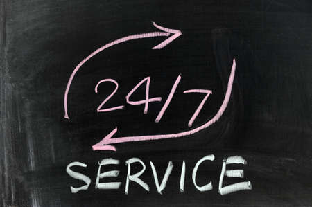 Conceptional chalk drawing - 24/7 service Stock Photo - 12701758
