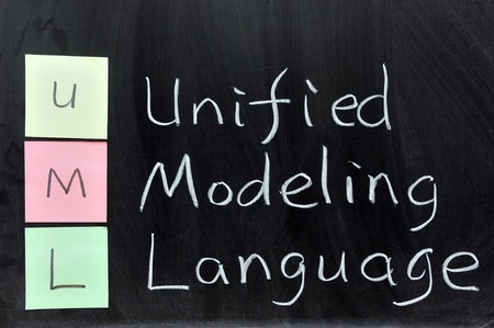dessin craie: Dessin � la craie - UML, Unified Modeling Language Banque d'images