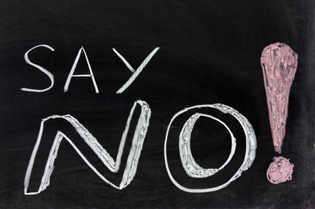 respond: Conceptional chalk drawing - Say no! Stock Photo