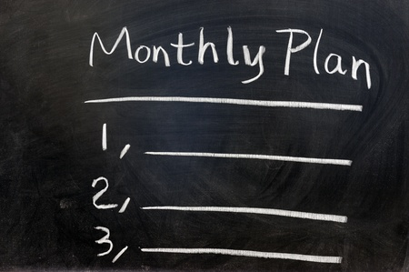 Chalk writing - Monthly plan on chalkboard Stock Photo - 12907393