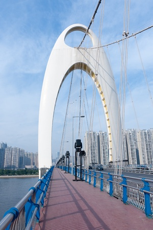 Scene of Liede bridge over the Pearl River in Guangzhou city, Guangdong province of China photo