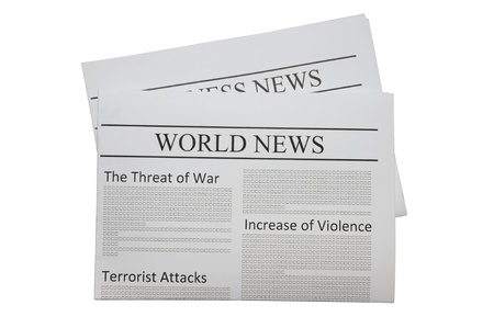 World news newspaper isolated on white photo