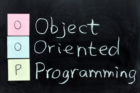 chalk writing: Chalk scrittura - OOP, Object Oriented Programming Archivio Fotografico