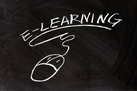 elearning: E-Learning and a mouse sign drawn on chalkboard Stock Photo