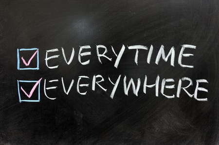 everywhere: Check box of everytime and everywhere on chalkboard
