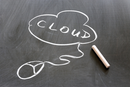 chalkboard image  of cloud computing concept photo