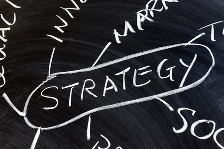 Strategy concept diagram drawn on chalkboard photo