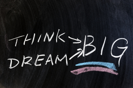 Think and dream big words written on chalkboard photo