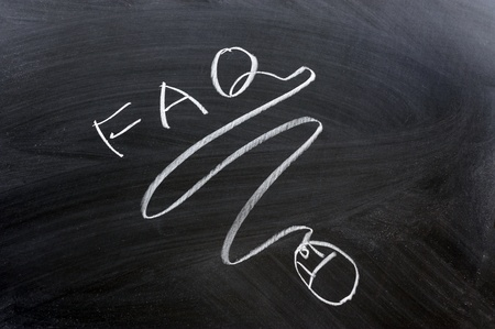 FAQ word and mouse drawn on chalkboard photo