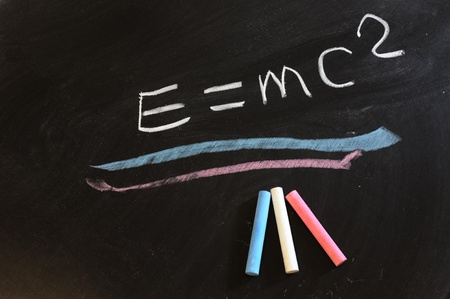 the theory of relativity: Theory of relativity formula written on chalkboard
