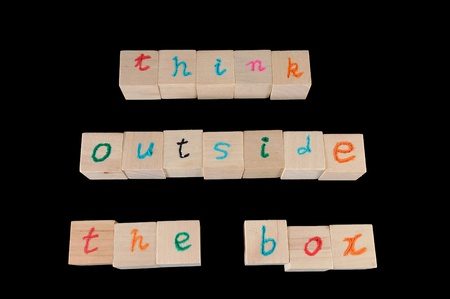 Think outside the box words on wooden cubes Stock Photo - 13462696