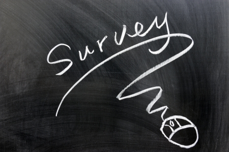 online survey: Survey and mouse sign drawn on chalkboard Stock Photo