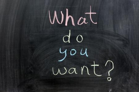 What do you want words written on chalkboard Standard-Bild
